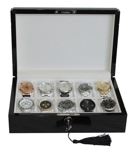 10 Piece High Gloss Piano Black Men's Watch Box Display Case