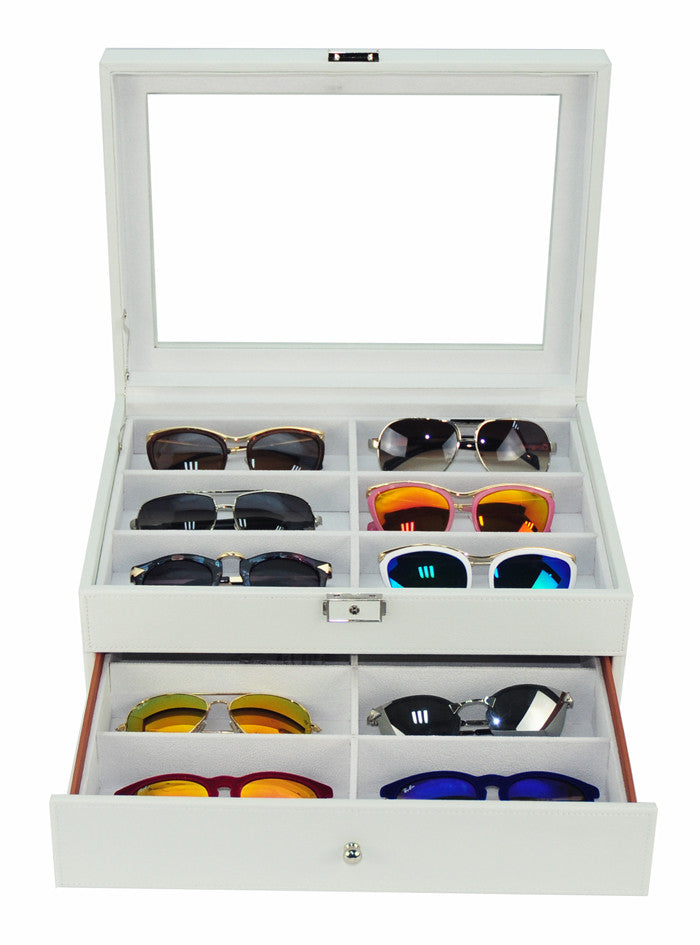 64c2eaa8364 12 Piece Extra Large White Leatherette Eyeglass Display Case with Draw –  Timely Buys