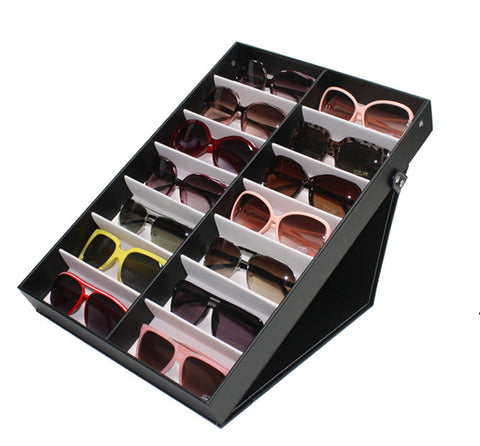 14 PIECE EXTRA LARGE BLACK EYEGLASS SUNGLASS GLASSES DISPLAY CASE