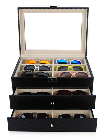 18 Piece Large Black Carbon Fiber Three Level Glasses Display Case with Drawer