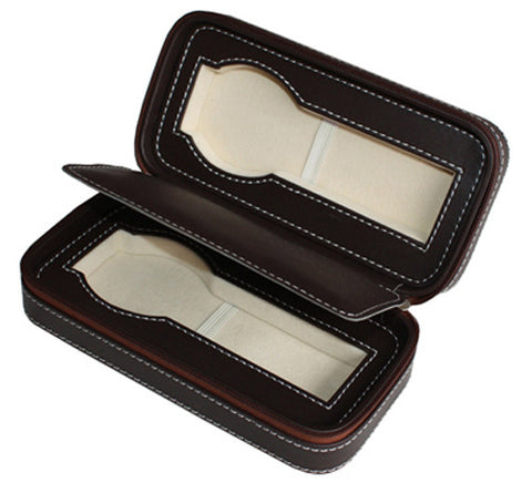 2 Watch Chocolate Brown Leatherette Zippered Travel Watch Case