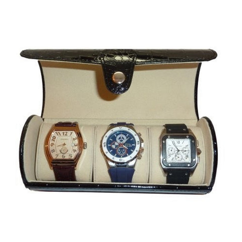3 Watch Roll Black Croc Travel Watch Case