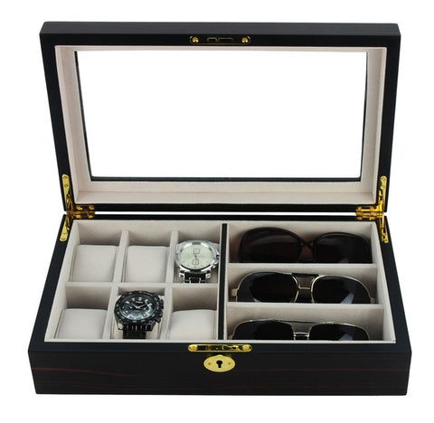 6 Watch and 3 Eyeglass Ebony Walnut Wood Storage Display Case
