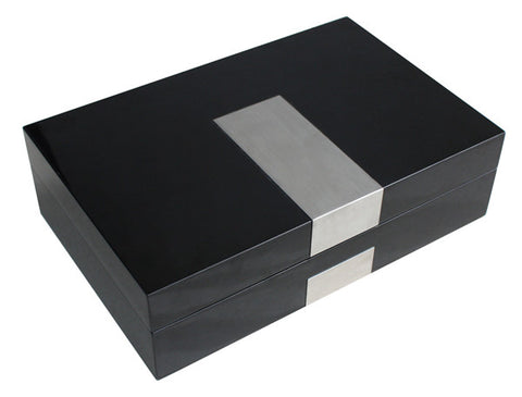 8 Watch Black Lacquer Watch Display Box with Stainless Steel Accent for Oversized Watches