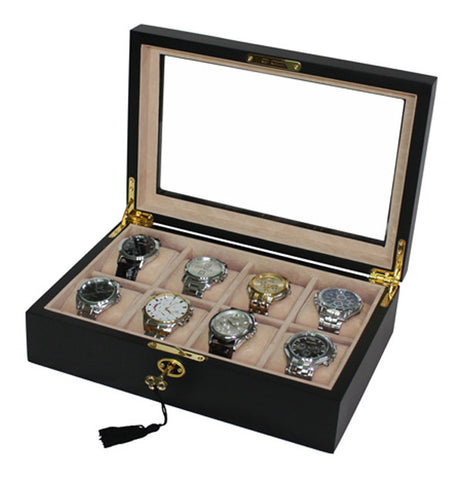 8 Watch Black Wood Watch Display Case for Oversized Watches