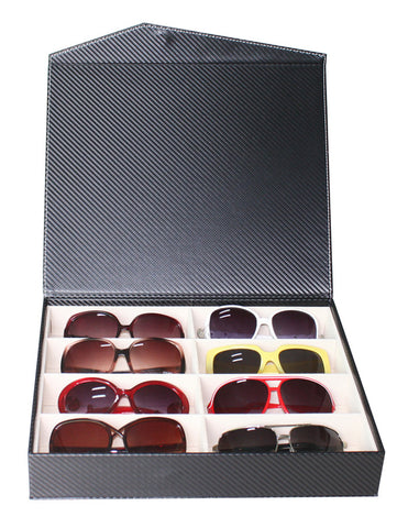 8 Piece Large Black Eyeglass Sunglass Glasses Display Case