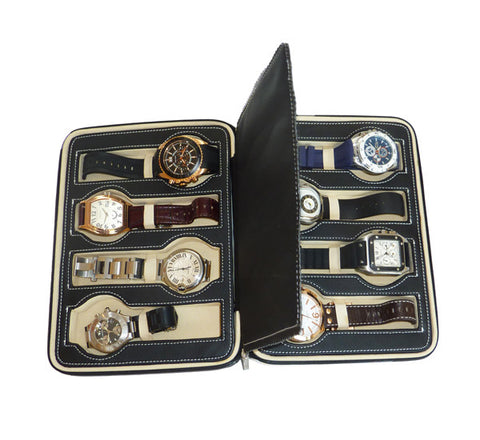 8 Watch Black Leatherette Zippered Travel Watch Case and Organizer
