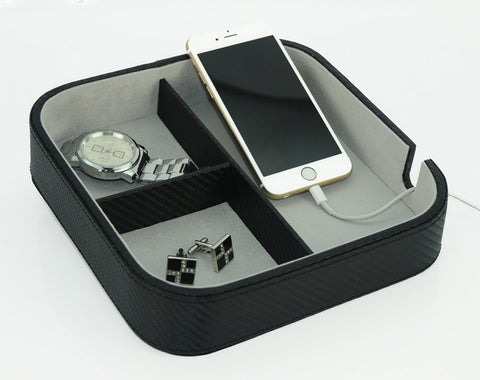 Three Compartment Black Carbon Fiber Charging Station, Catchall for Phone, Keys, Coins, and More