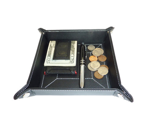Black Leatherette Coin Tray and Catchall for Keys, Coins, and More