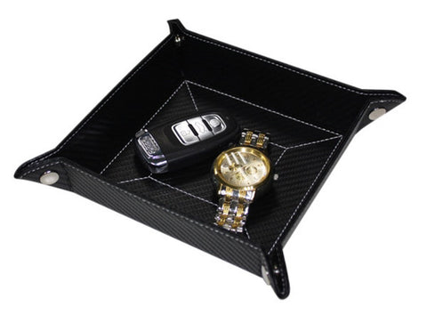 Black Carbon Fiber Coin Tray and Catchall for Keys, Coins, and More