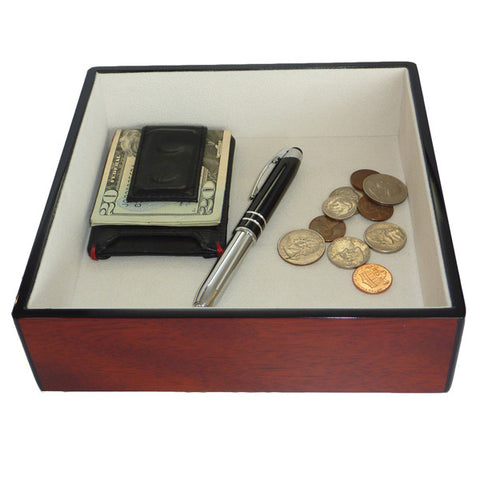 Cherry Lacquer Coin Tray and Catchall for Keys, Coins, and More