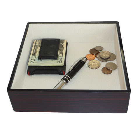 Ebony Lacquer Coin Tray and Catchall for Keys, Coins, and More