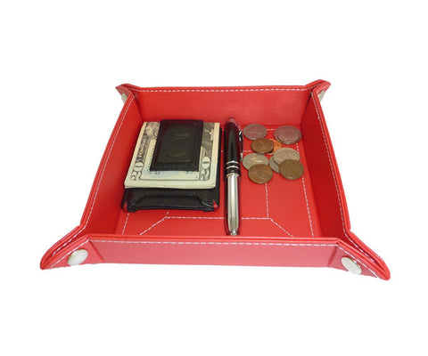 Red Leatherette Coin Tray and Catchall for Keys, Coins, and More