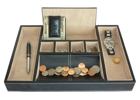 Black Leatherette Valet Tray Desk Organizer and Catchall for Phone, Keys, Coins, and More