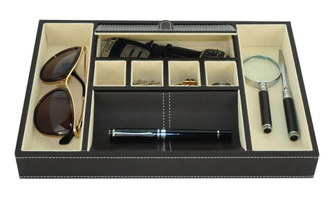 Brown Leatherette Valet Tray Desk Organizer and Catchall for Phone, Keys, Coins, and More