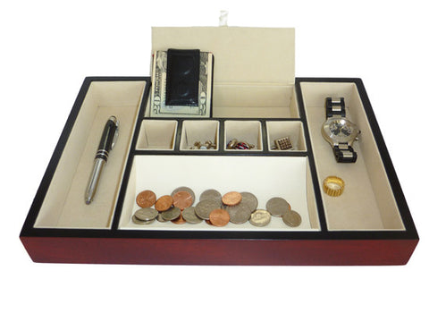 Cherry Wood Valet Tray Desk Organizer and Catchall for Phone, Keys, Coins, and More