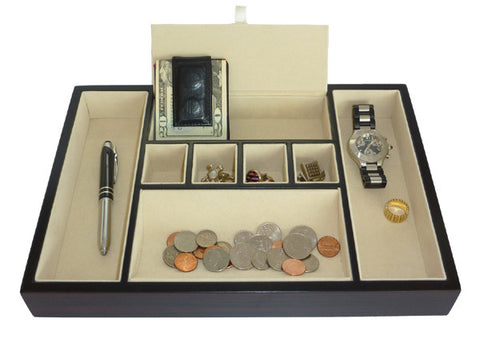 Ebony Wood Valet Tray Desk Organizer and Catchall for Phone, Keys, Coins, and More