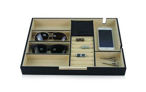 Black Carbon Fiber Valet Tray Desk Organizer and Catchall for Glasses, Phone, Keys, Coins, and More