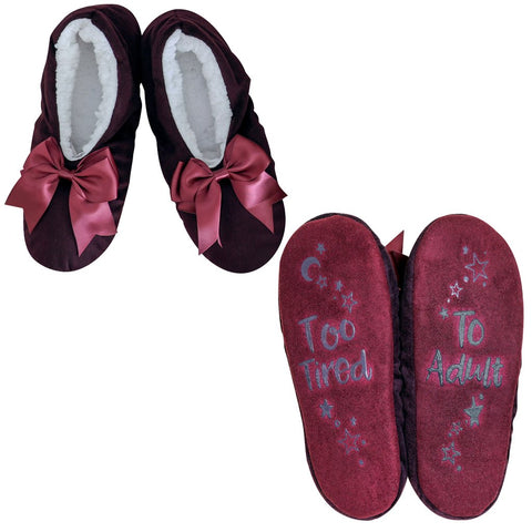 "Faceplant Dreams Slipper Footsies - ""Too Tired To Adult"""