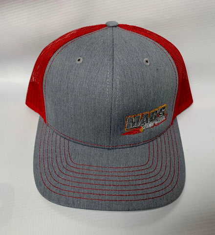 Richardson 112 Trucker Heather Gray with Red Mesh