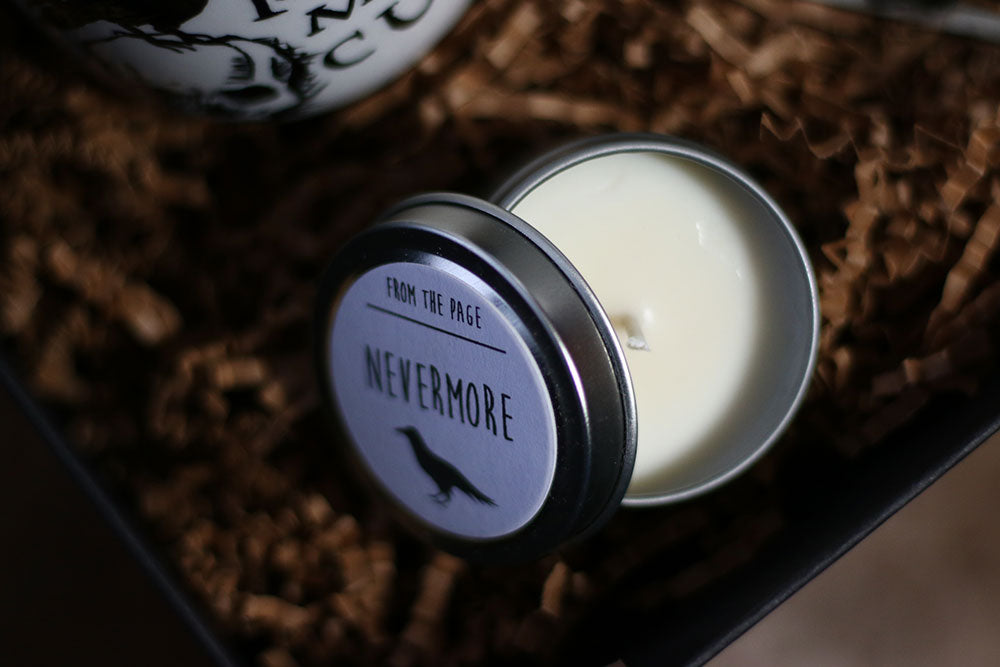 Nevemore Soy Candle by From The Page in Coffee and a Classic Book Box
