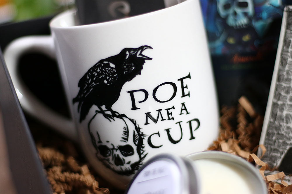 Hand-painted Edgar Allan Poe Inspired Coffee Mug by Coffee and a Classic