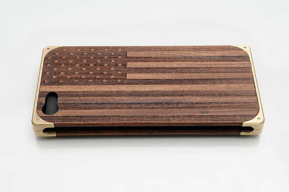 American flag engraving on EXOvault iPhone case