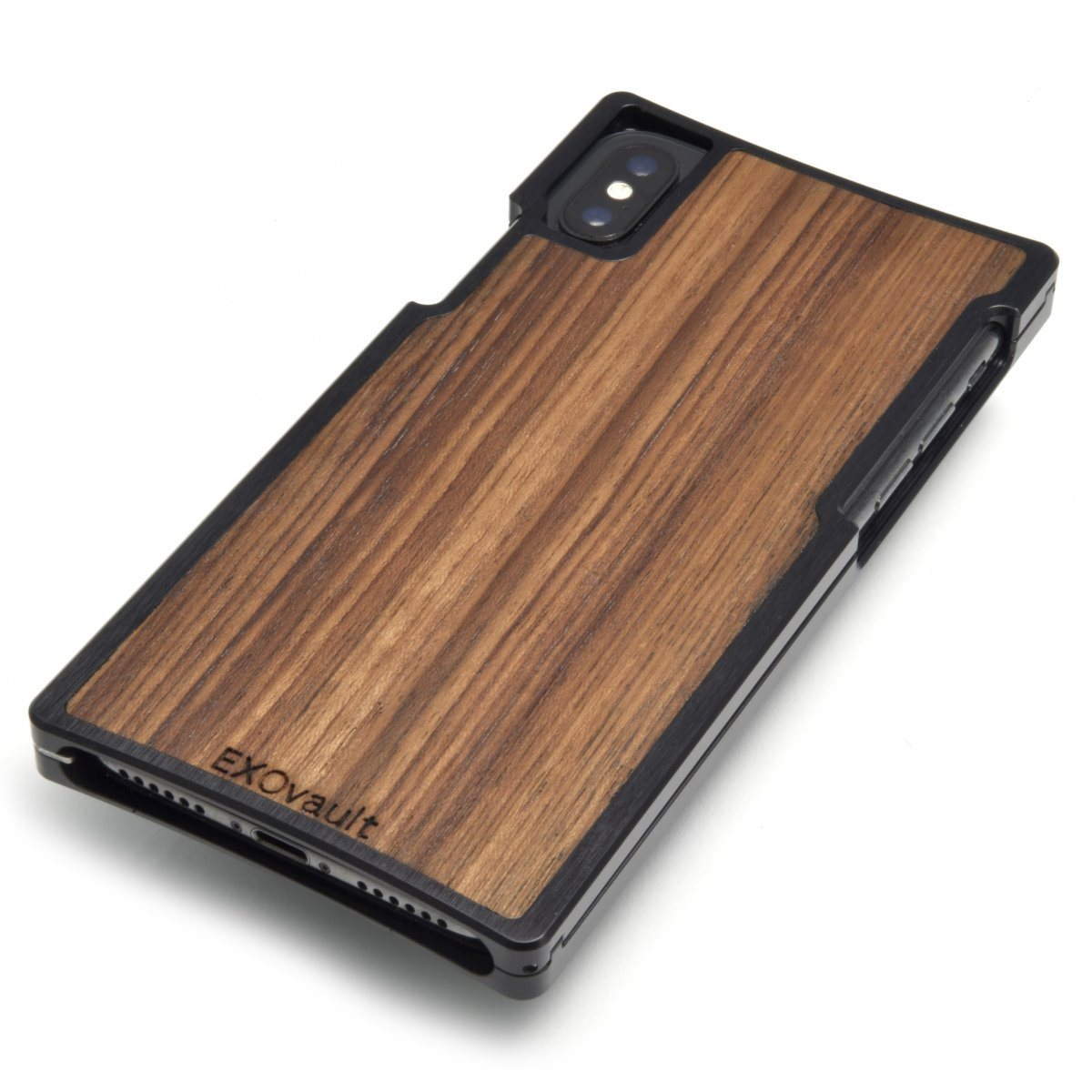 Black Aluminum Case with Teak for iPhone X