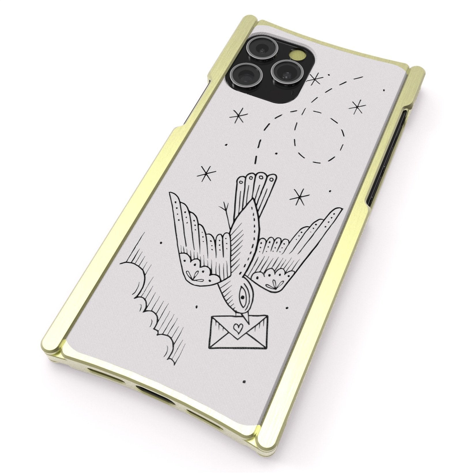 iPhone 12 Case, Duke Riley, Carier Pigeon, Artist Edition Europa 12 Pro Brass and White G10