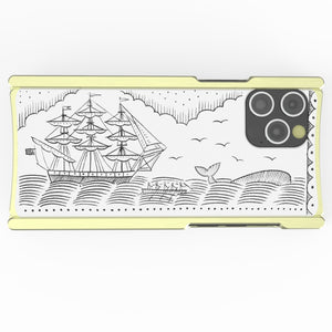 iPhone 12 Case, Duke Riley, Whale and Ship, Artist Edition Europa 12 Pro Max Brass and White G10
