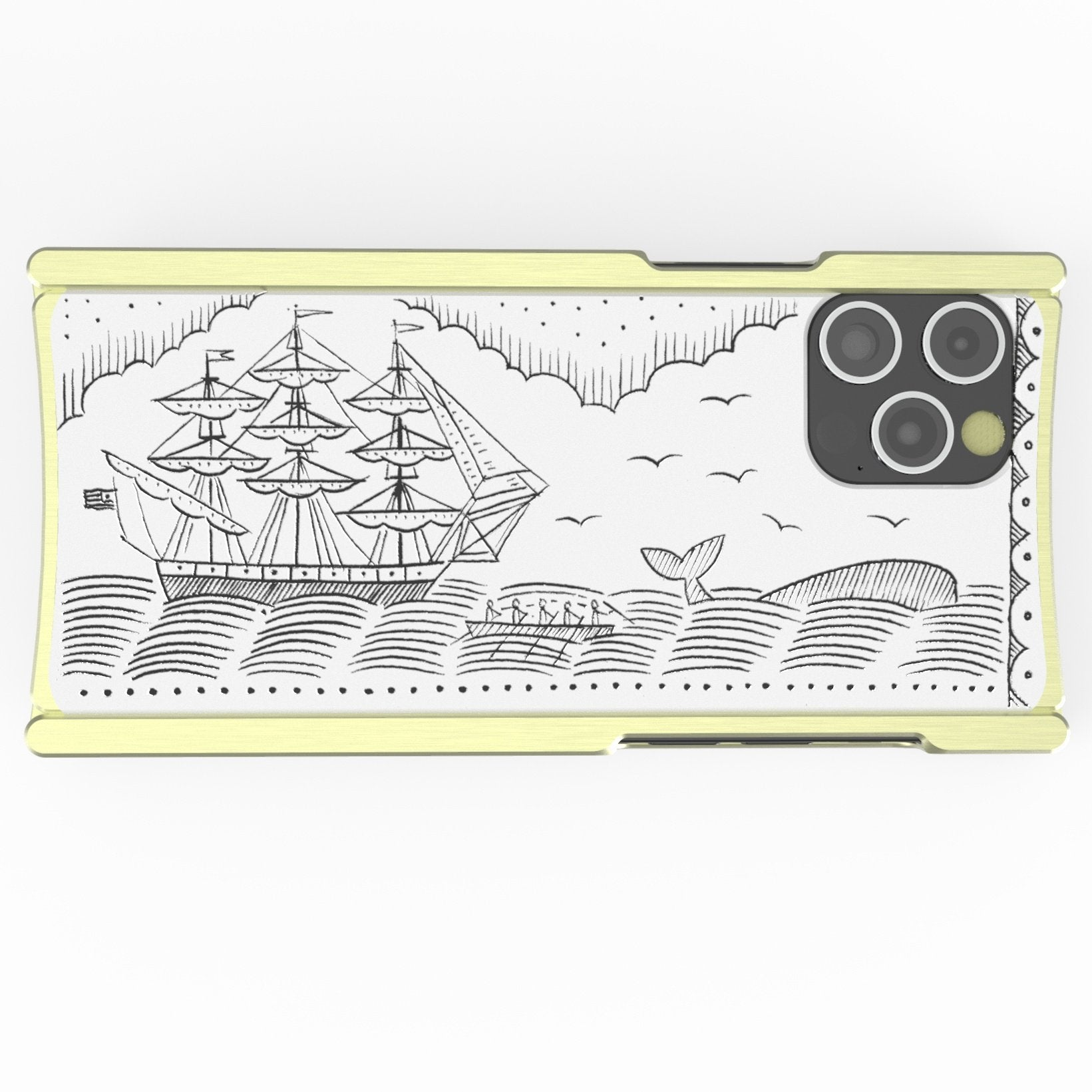 iPhone 12 Case, Duke Riley, Whale and Ship, Artist Edition Europa 12 Pro Brass and White G10