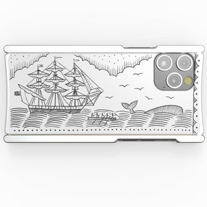 iPhone 12 Case, Duke Riley, Whale and Ship, Artist Edition Europa 12 Pro Max Silver Aluminum and White G10
