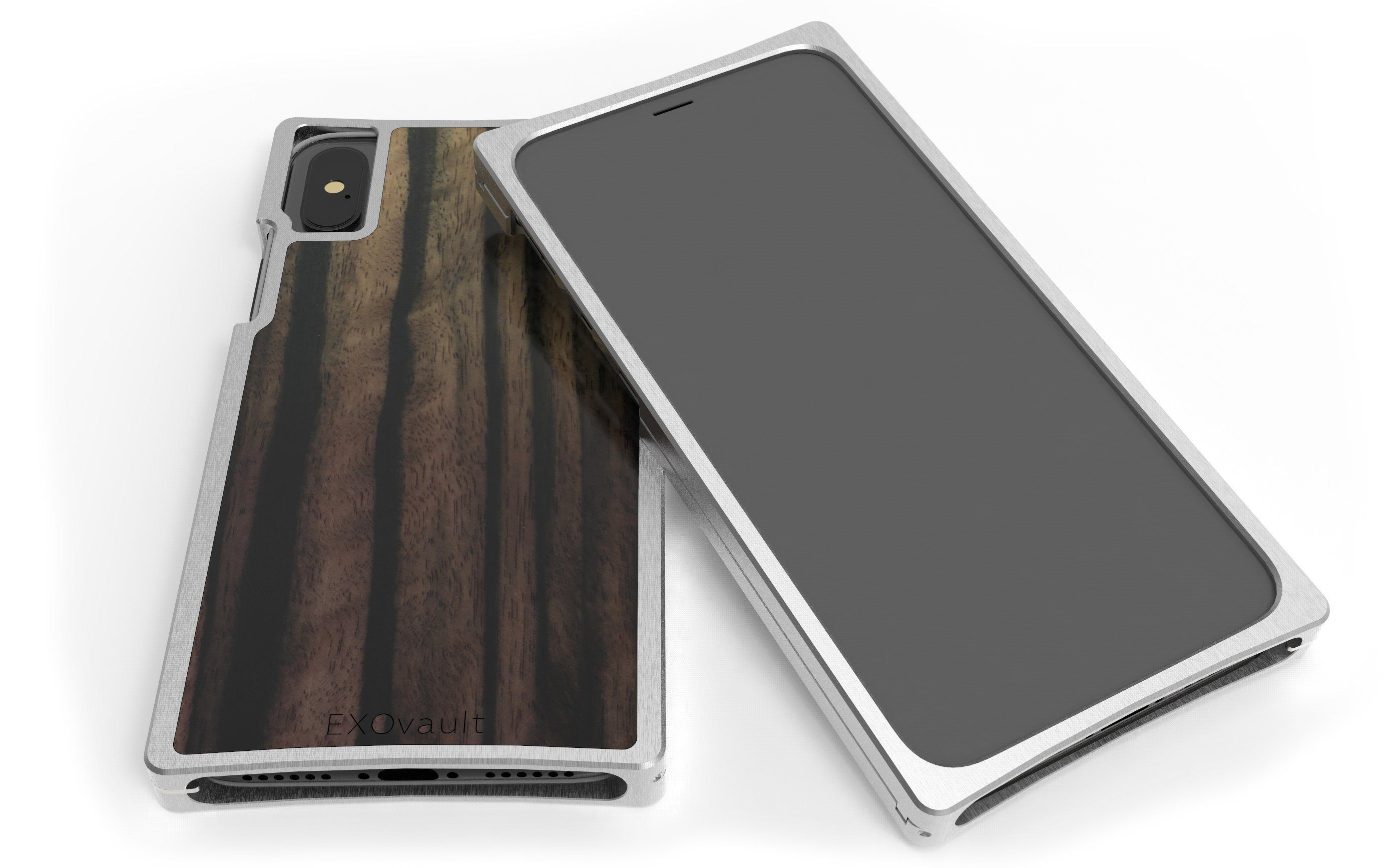 Nickel Aluminum Case with Ebony Inlay for iPhone X