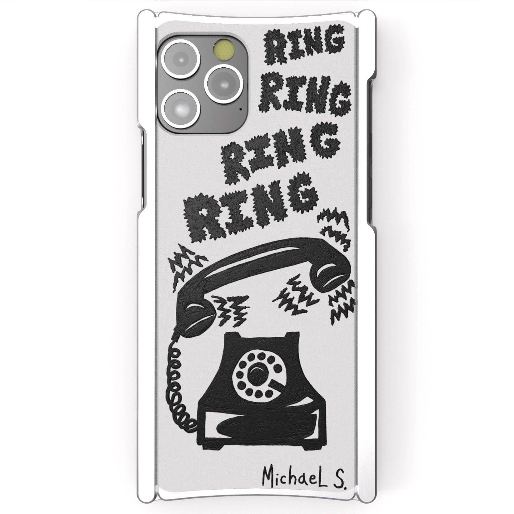 iPhone 12 Case, Michael Scoggins, Ring Ring Ring, Artist Edition Europa 12 Pro Silver Aluminum and White G10