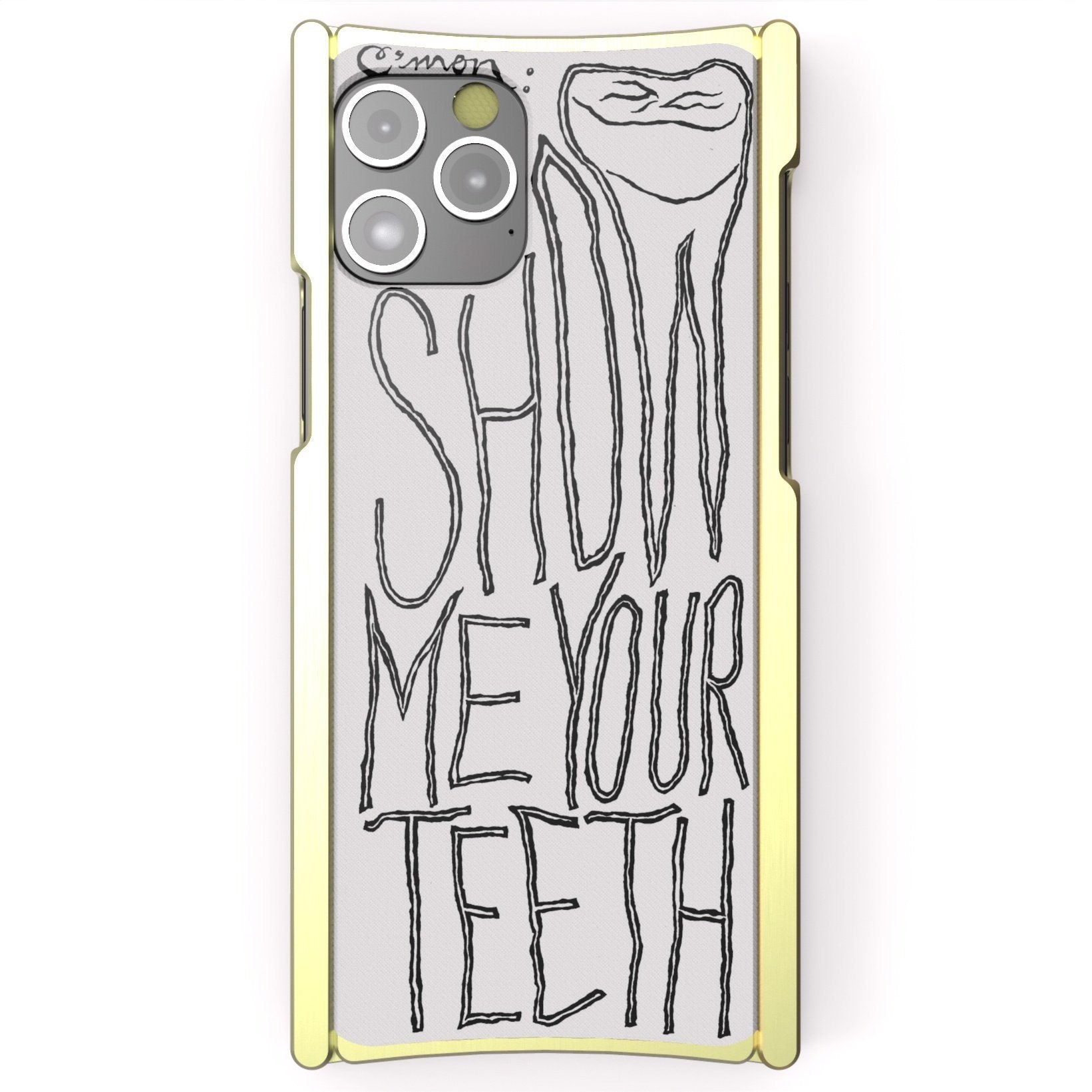 iPhone 12 Case Alex Gingrow, SHOW ME YOUR TEETH, Europa 12 Pro Brass and White G10