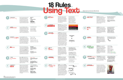 18 Rules for Using Text 20x30  Poster