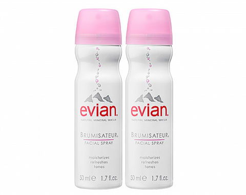 Evian Brumisateur Natural Mineral Water Facial Spray Travel Duo