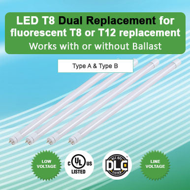 LED T8 Dual Replacement for Fluorescent T8 or T12 replacement- works with or without ballast.