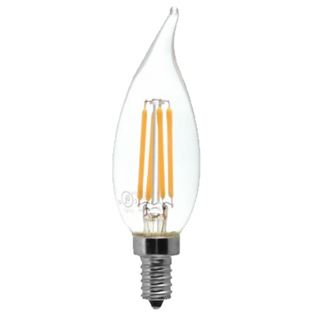 Clear LED Filament Chandelier Bulb - Flame Tip - 4 Watt - 2700K -<br> Warm White - ONBULBLED