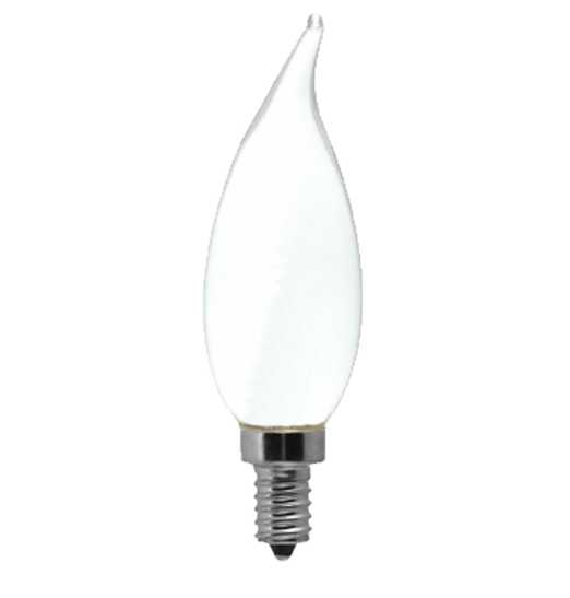 Frosted LED Filament Chandelier Bulb - Flame Tip - 2 Watt - 4000K -<br> Cool White - ONBULBLED