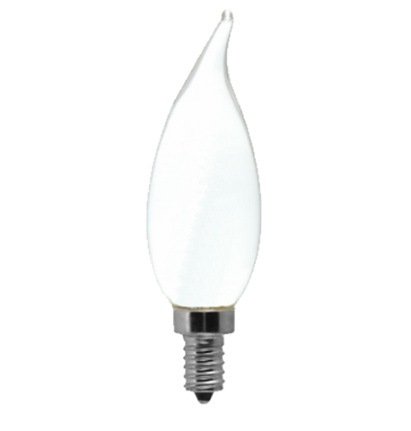Frosted LED Filament Chandelier Bulb - Flame Tip - 2 Watt - 2700K -<br> Warm White - ONBULBLED