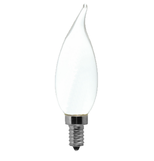 Frosted LED Filament Chandelier Bulb - Flame Tip - 4 Watt - 2700K -<br> Warm White - ONBULBLED