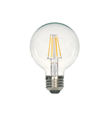 LED Filament G25 Bulb - Clear Glass- Dimmable - 4 Watt - 2700K -<br> Warm White - ONBULBLED