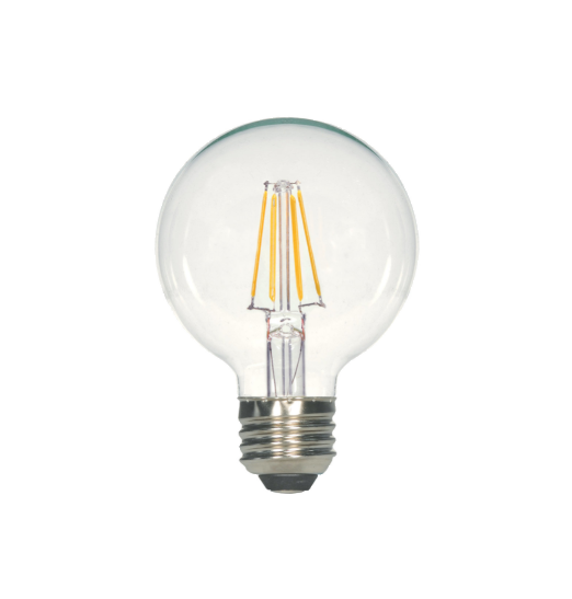 LED Filament G25 Bulb - Clear Glass- Dimmable - 4 Watt - 3000K -<br> Soft White - ONBULBLED