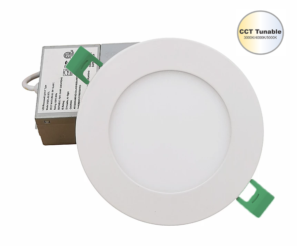 6''in 12 Watt Round Ultra Slim Wafer Ceiling Light With CCT Tunable Switch 3000K/4000K/5000K