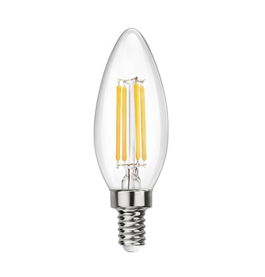 Clear LED Filament Chandelier Bulb - Torpedo Tip - 4 Watt - 3000K -<br> Soft White - ONBULBLED
