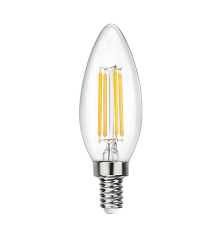 Clear LED Filament Chandelier Bulb - Torpedo Tip - 2 Watt - 4000K -<br> Cool White - ONBULBLED