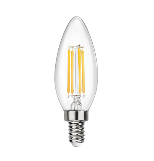 Clear LED Filament Chandelier Bulb - Torpedo Tip - 4 Watt - 2700K -<br> Warm White - ONBULBLED