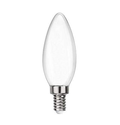 Frosted LED Filament Chandelier Bulb - Torpedo Tip - 6 Watt - 2700K -<br> Warm White - ONBULBLED