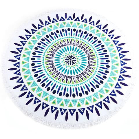 Blue Mandela Round Beach Towel